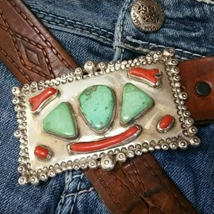 Accessories - Handmade Sterling Turquoise Coral Buckle